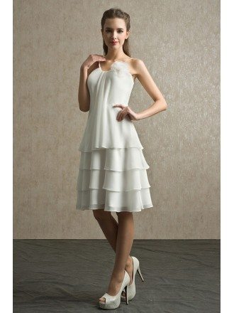 Elegant Ivory Layered Chiffon Short Wedding Dress Ruffles