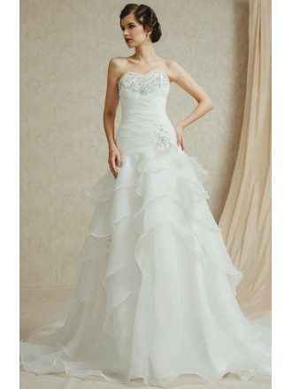 Popular Sweetheart Pleated Organza Wedding Dress with Ruffles