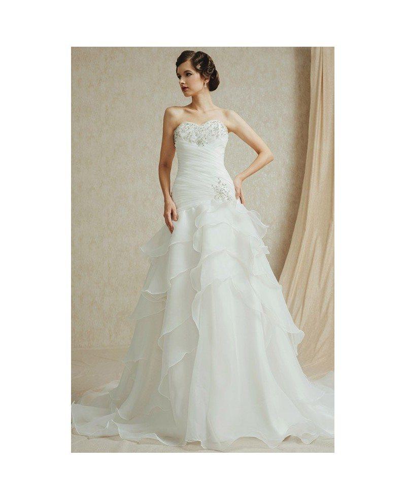 Organza Wedding Gowns: Popular Sweetheart Pleated Organza Wedding Dress With