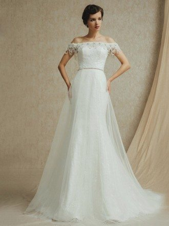 Elegant Beaded Pearls Off the Shoulder Mermaid Lace Tulle Wedding Dress