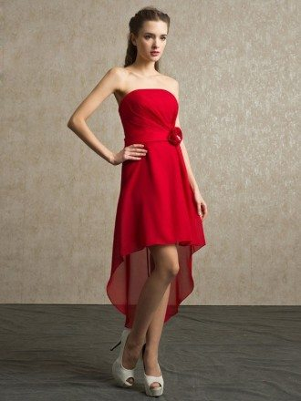 Red Chiffon High Low Strapless Bridesmaid Dress Short Front Long Back