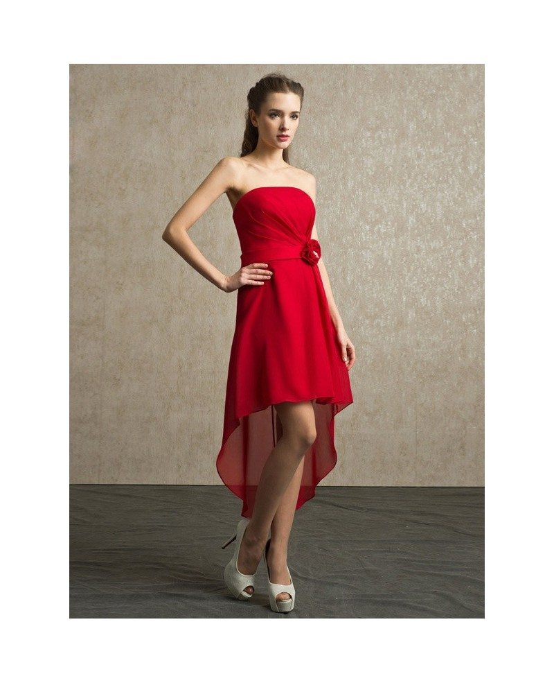 Red chiffon high low strapless bridesmaid dress short front long red chiffon high low strapless bridesmaid dress short front long back ombrellifo Choice Image