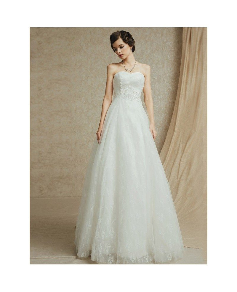 Sweetheart Lace A Line Tulle Custom Wedding Dress With Long Train BS047 3489