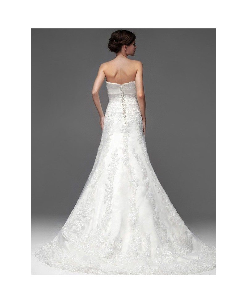 Full Beaded Lace Strapless Trumpet Wedding Dress with Sash #BS048 ...