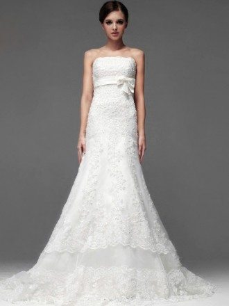 Full Beaded Lace Strapless Trumpet Wedding Dress with Sash