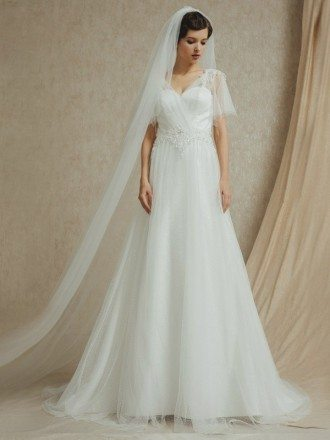 Butterfly Sleeve Elegant Beaded Long Tulle Wedding Dress