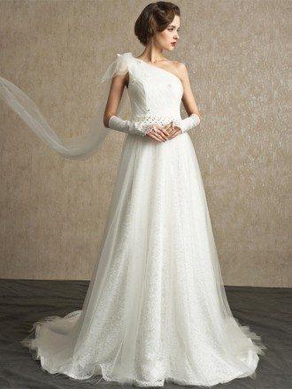 One Shoulder Wedding Dresses, Wedding Dresses One Shoulder -GemGrace