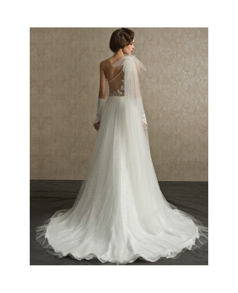Stunning one strap full lace and tulle sheer back wedding for One strap wedding dress