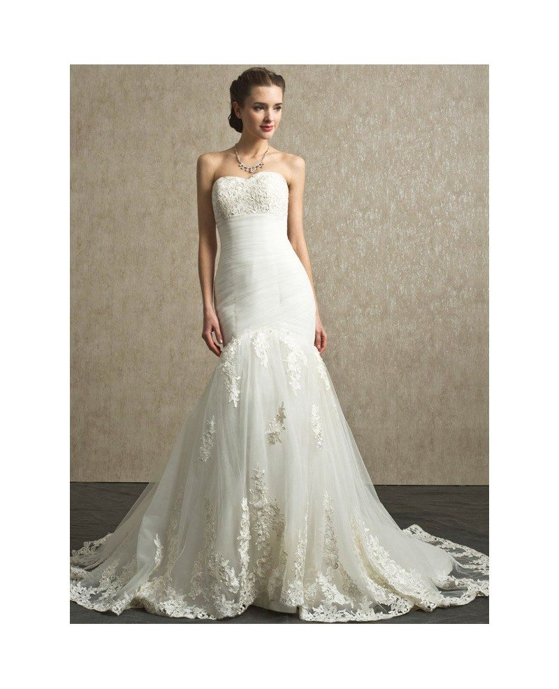 Sweetheart pleated organza mermaid lace custom wedding for Custom mermaid wedding dress