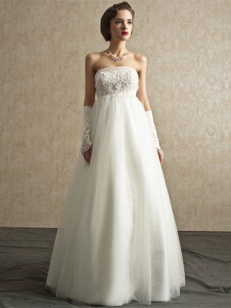 Gorgeous Long Tulle Sequined Lace Empire Maternity Wedding Dress