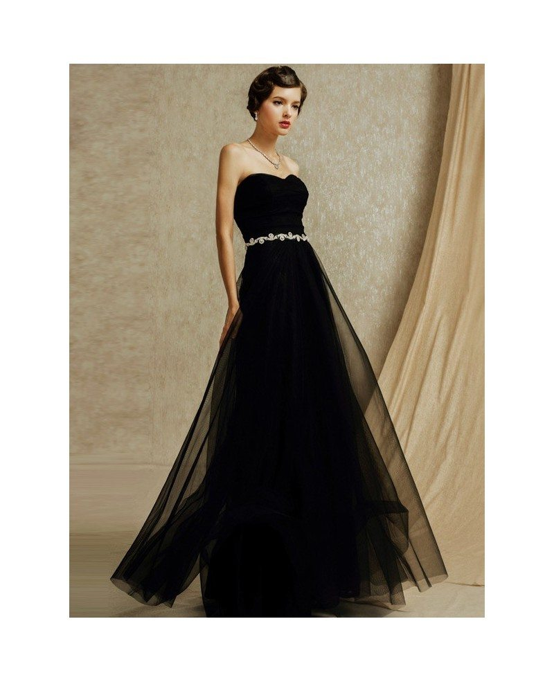 Chic black tulle sweetheart long formal bridal party dress for Black tulle wedding dress