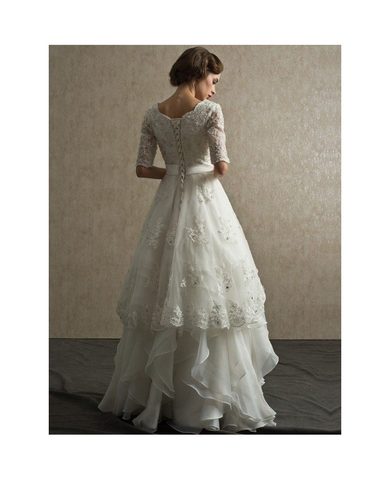 Modest lace short half sleeve high neck wedding dress with for Wedding dresses with half sleeves