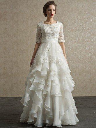 Modest Lace Short Half Sleeve High Neck Wedding Dress with Ruffles