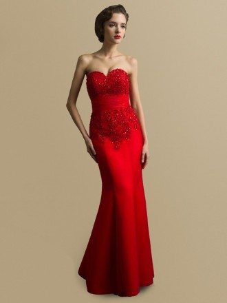 Sweetheart Sequined Lace Long Mermaid Satin Red Bridal Dress