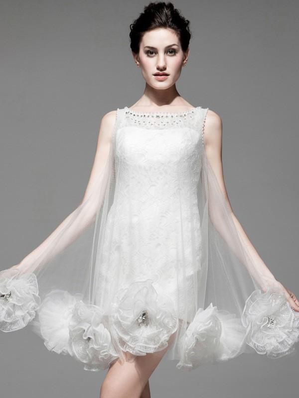 Unique Short Wedding Dresses 2017 Winter Handmade Flowers
