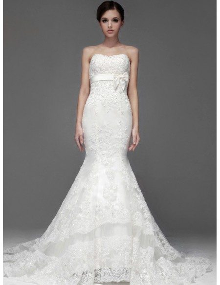 Perfect Mermaid Fitted Full Lace Sweetheart Wedding Dress With Sash BS076 3389