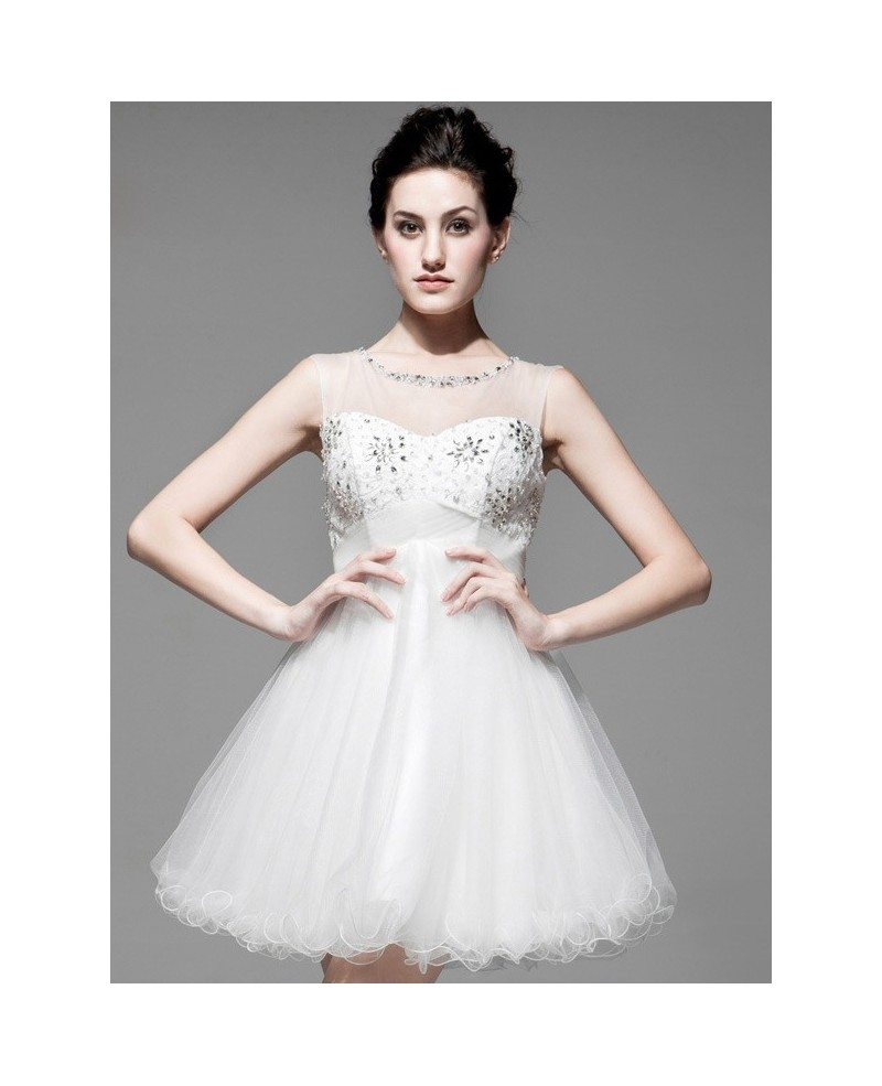 Chic Short Wedding Dresses Tulle Open Back with Beading Style #BS079 ...