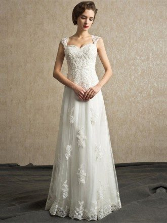 Best Elegant Lace A-line Tulle Wedding Dress Floor Length