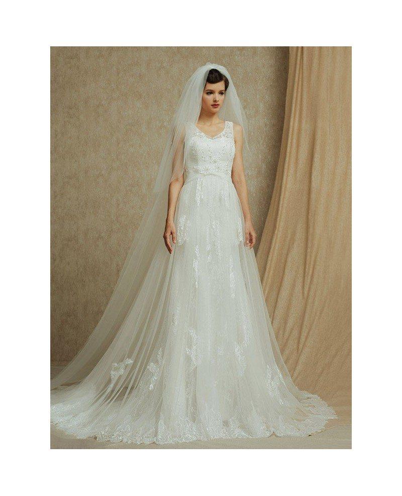 Lace empire waist long tulle wedding dress with train for Empire waist tulle wedding dress