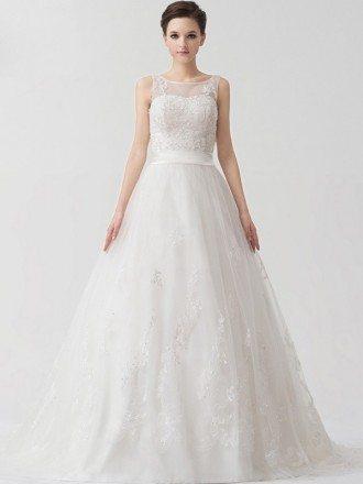Ballgown Tulle Beaded Lace Custom Wedding Dress Corset Back