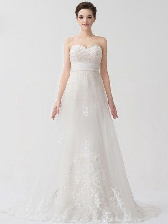 Sweetheart Beaded A-line Lace Tulle Wedding Dress Corset Back