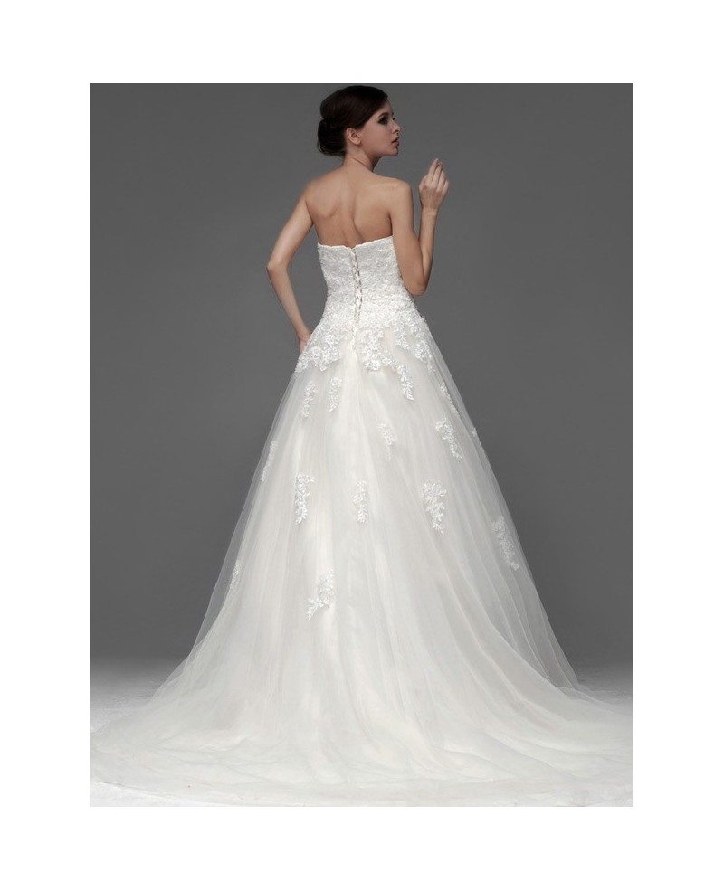 Lace a line long tulle wedding dress with sweep train for Lace wedding dress with long train
