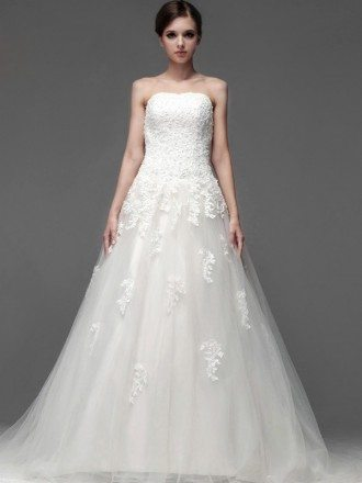 Lace A-line Long Tulle Wedding Dress with Sweep Train