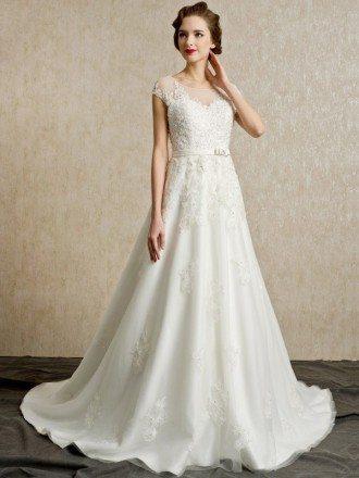 Gorgeous Lace Cap Sleeves Open Back Wedding Dress Long Train
