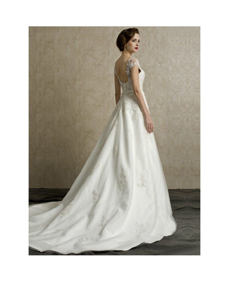 Gorgeous lace cap sleeves open back wedding dress long for Wedding dress with sleeves and open back