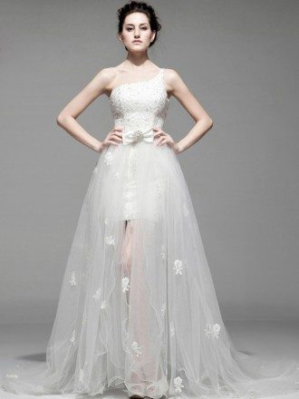 Chic Beaded One Shoulder Flowers Removable Tulle Wedding Dress High Low Detachable Train