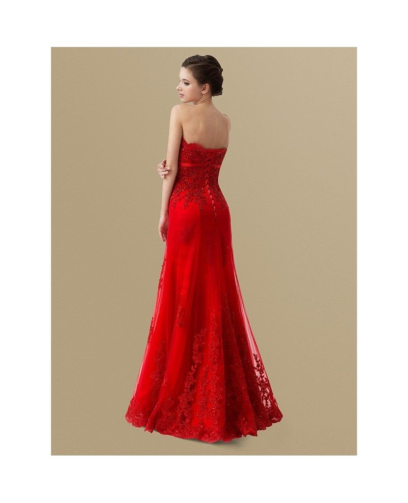 red sequined lace long tulle wedding party dress bs095