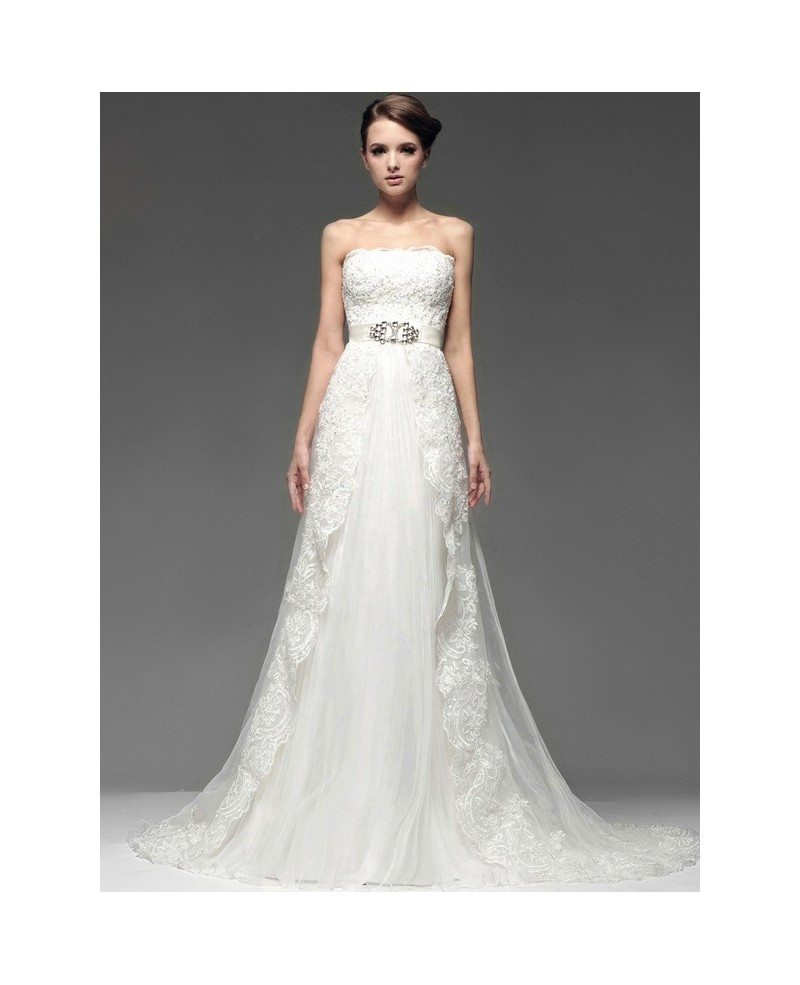 Chic jeweled sash strapless lace wedding dress with train for Wedding dresses with sashes