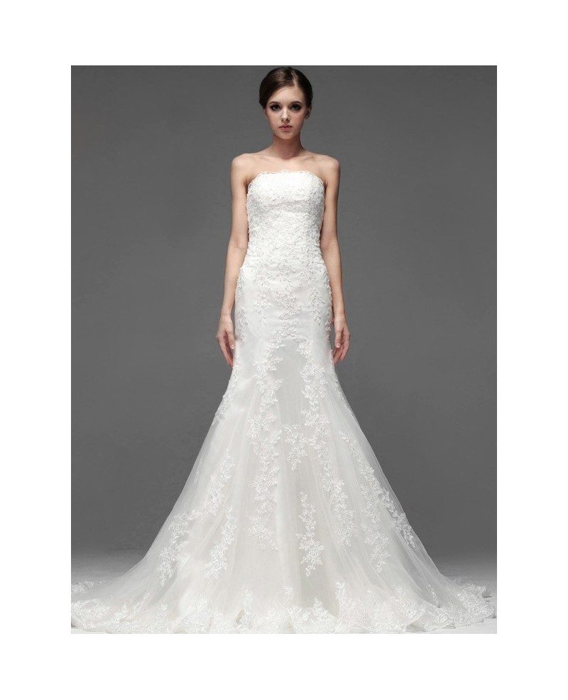 Trumpet lace tulle strapless custom fitted wedding dress for Fitted strapless wedding dress