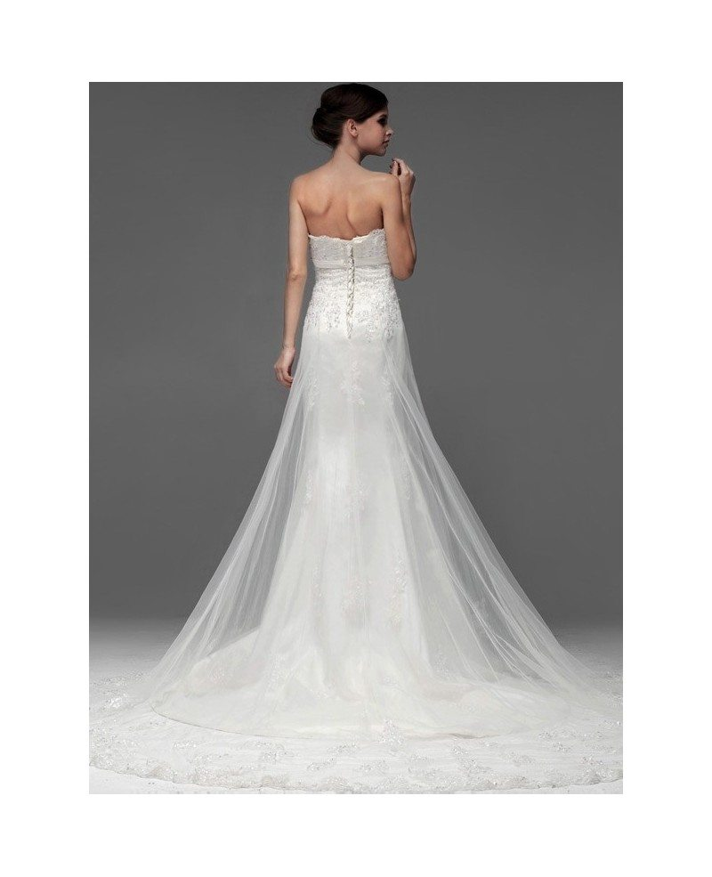 Gorgeous lace long tulle sequined wedding dress bs098 for Sequined wedding dress
