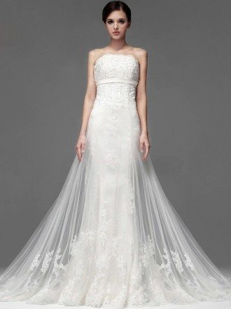 Gorgeous Lace Long Tulle Sequined Wedding Dress