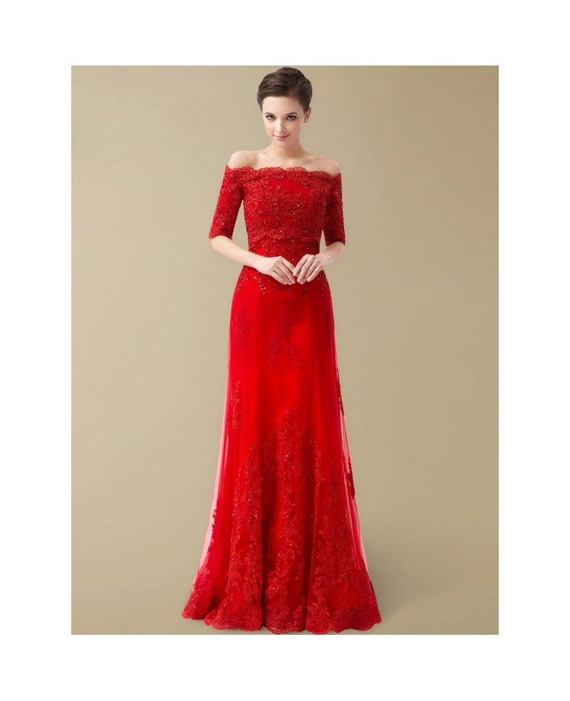 Best Off the Shoulder Lace Half Sleeve Long Red Wedding Dress #BS099 ...