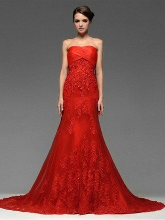 Sweetheart Sequined Lace Trumpet Long Tulle Wedding Dress