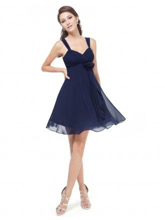 A-line V-neck Chiffon Short Bridesmaid Dress With Lace