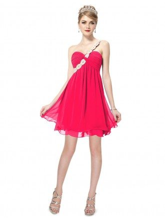 A-line One-shoulder Printed Short Bridesmaid Dress With Beading