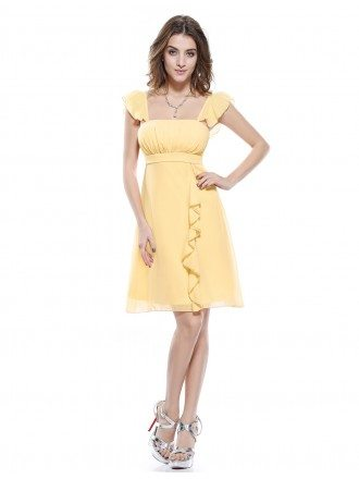 A-line Square Neckline Short Bridesmaid Dress With Cap Sleeves