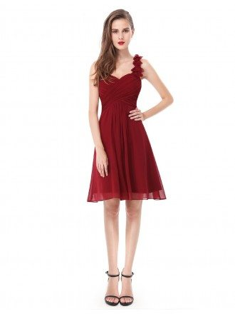 A-line One-shoulder Short Bridesmaid Dress With Ruffle