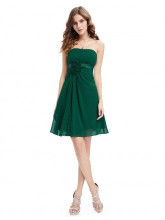 A-line Strapless Knee-length Bridesmaid Dress With Ruffle
