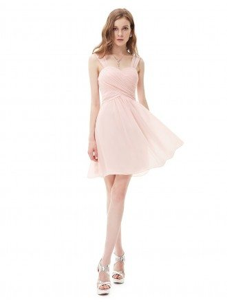 A-line Sweetheart Short Pleated Bridesmaid Dress