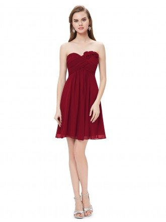 A-line Sweetheart Short Pleated Bridesmaid Dress With Flowers