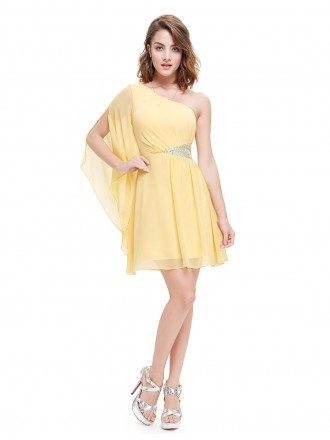 A-line One-shoulder Mini Dress With Sequins