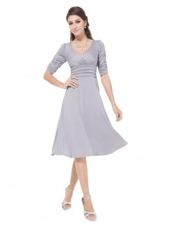 A-line V-neck Knee-length  Pleated Bridesmaid Dress With Sleeves