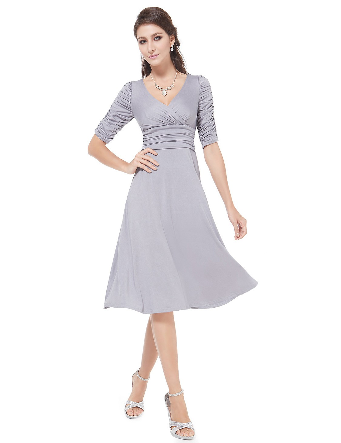 A line v neck knee length pleated bridesmaid dress with for Wedding dress knee length with sleeves