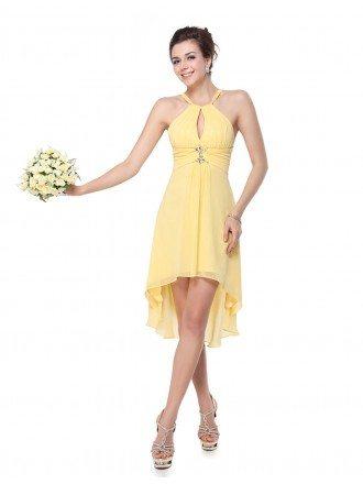 A-line Halter Asymmetrical Bridesmaid Dress With Rhinestones
