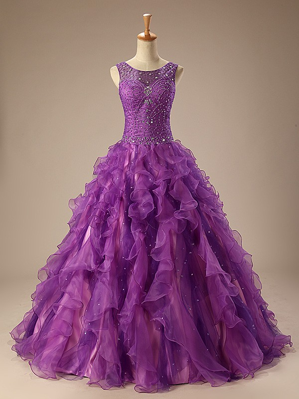 Ball Gown Scoop Neck Sweep Train Tulle Prom Dress With