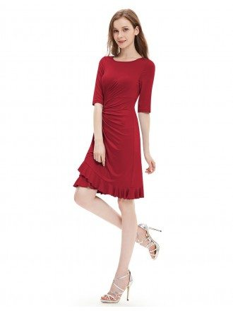Sheath Scoop Neck Knee-length Formal Dress With Sleeves
